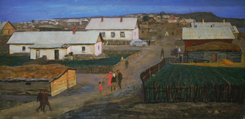 """В.С. Захаркин """"Целинный посёлок"""" 1963"""
