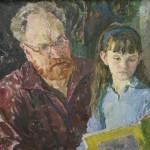 """И.Ф. Аристова """"Портрет В.А. Бабицына с дочерью"""" 1969"""