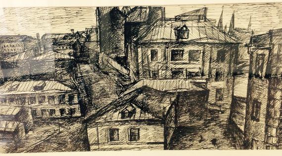 Александр Данилов «Москва. Городской пейзаж. Район Остоженки» 1973