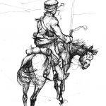 Гусар на ведетах наблюдает за неприятельским лагерем. Рядовой Нуаро, полк Конных гренадер гвардии