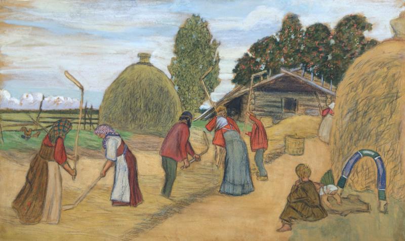 "Борис Кустодиев ""Молотьба"" 1908"