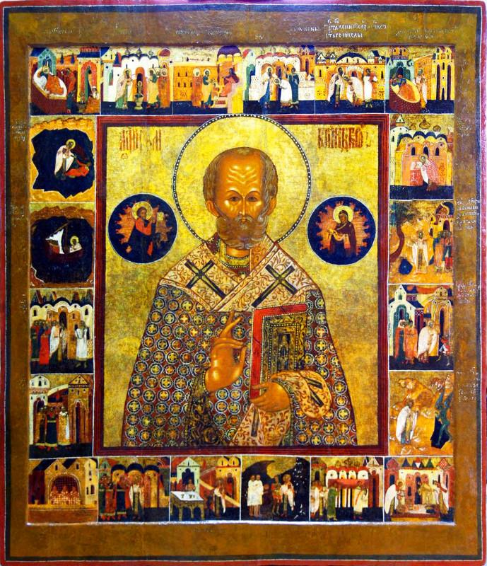 Икона Святитель Николай Чудотворец, с 20 клеймами жития, 17 век