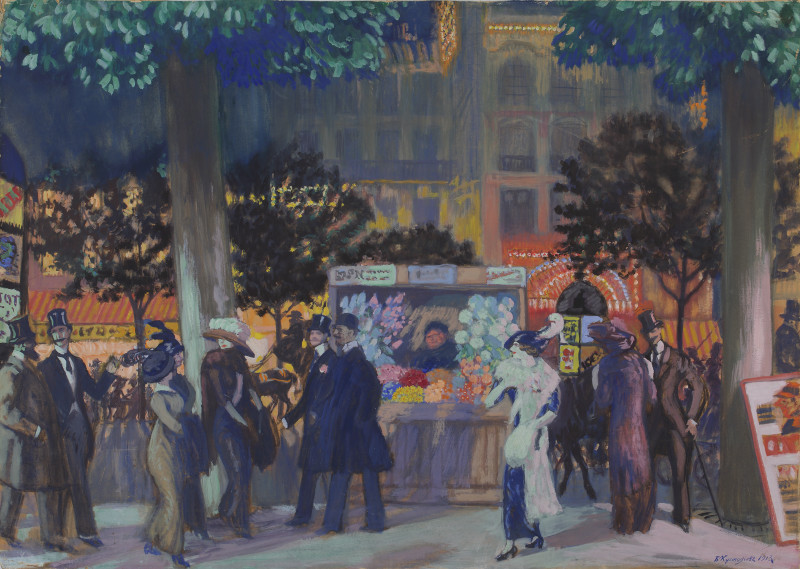 "Борис Кустодиев ""Парижский бульвар ночью"" 1913"