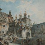 """Федор Алексеев """"Боярская площадка в Кремле (с западной стороны)"""" 1800-е"""