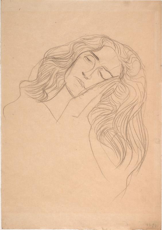 """Густав Климт """"Женское лицо, щекой прижатое к рукам"""" 1903"""