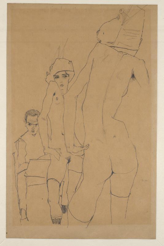 """Эгон Шиле """"Эгон Шиле и обнаженная модель перед зеркалом"""" 1910"""