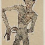 """Эгон Шиле """"Автопортрет в обнаженном виде, гримаса"""" 1910"""