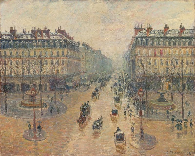 """Камиль Писсарро """"Оперный проезд в Париже. Эффект снега. Утро"""" 1898"""