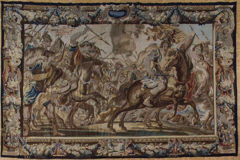 Гобелен с сюжетным изображением битвы под стенами Александрии из цикла «Антоний и Клеопатра». Около 1700