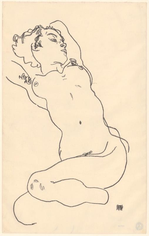 """Эгон Шиле """"Лежащая обнаженная с поджатыми ногами"""" 1918"""