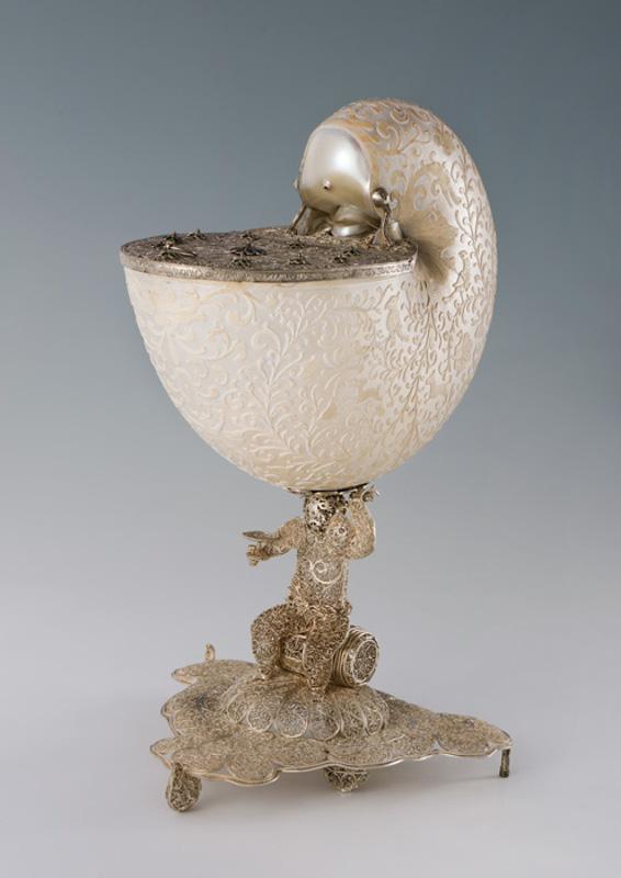 Кубок-наутилус с откидной крышкой. Индия, Гоа (?), середина – вторая половина XVII века