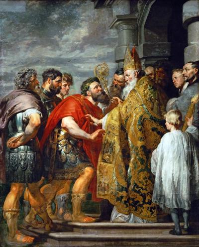 П.П. Рубенс «Св. Амвросий Медиоланский и император Феодосий» 1615-1616 Музей истории искусств, Вена