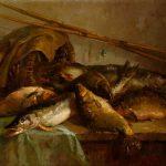 """Виктор Мещеряков """"Натюрморт с рыбами"""" 1953"""