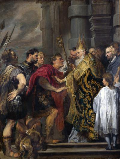 А. ван Дейк «Св. Амвросий Медиоланский и император Феодосий» 1618 Национальная галерея, Лондон