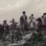 """Литография Ф. Пашенного по оригиналу А. Гебенса """"Собственного его императорского величества конвой"""" 1861"""