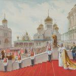 """Адольф Шарлемань """"Поклон c Красного крыльца народу. Эпизод коронации императора Николая II 14 мая 1896 года"""" 1896"""