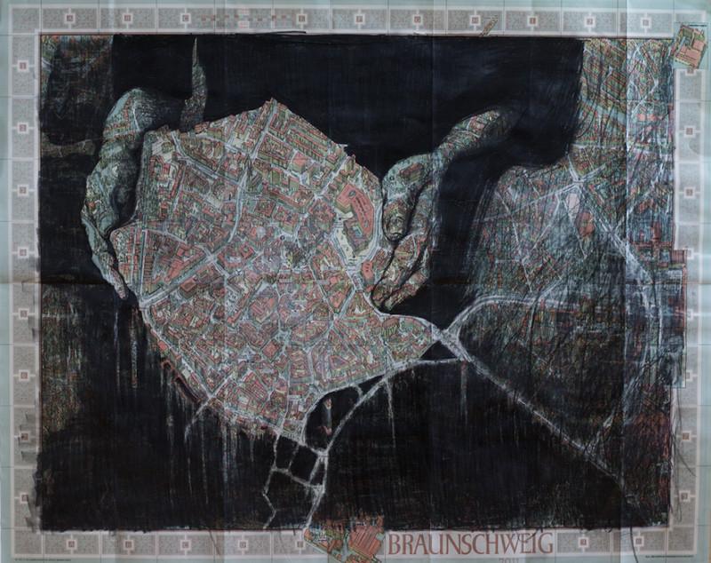 Персональная выставка. Рисунки на картах городов и серия коллажей.
