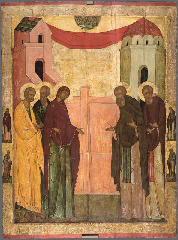 """Икона """"Явление Богоматери святому Сергию"""" Первая половина XVI века"""