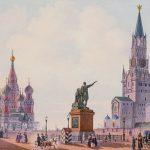 Вид Красной площади в сторону Покровского собора. Неизвестный художник. 1850-1860-е