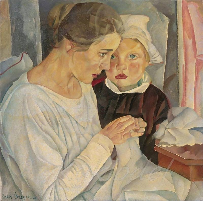"""Борис Григорьев """"Мать и дитя"""" 1918 Галерея Эритаж"""