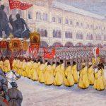 Парад революционных войск на Красной площади 4 марта 1917 года. Неизвестный художник. 1917