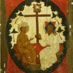 """Икона """"Святая Троица (Сопрестолие)"""" Конец XVI века"""