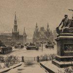 Парад на Красной площади 7 ноября 1941 года. Художник В. В. Богаткин. Конец 1940-х