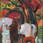 """В.А. Дувидов """"Иллюстрация к сказке Р. Киплинга """"Кошка, которая гуляла сама по себе"""" 1989"""