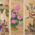 """Неизвестный художник """"Цветы и птицы. Фрагмент ширмы"""" Корея. Начало 20 века"""