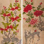 """Неизвестный художник """"Цветы и животные. Роспись ширмы"""" Корея. 19 век"""