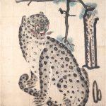 """Неизвестный художник """"Тигр и сороки. Вертикальный свиток"""" Корея. 19 век."""