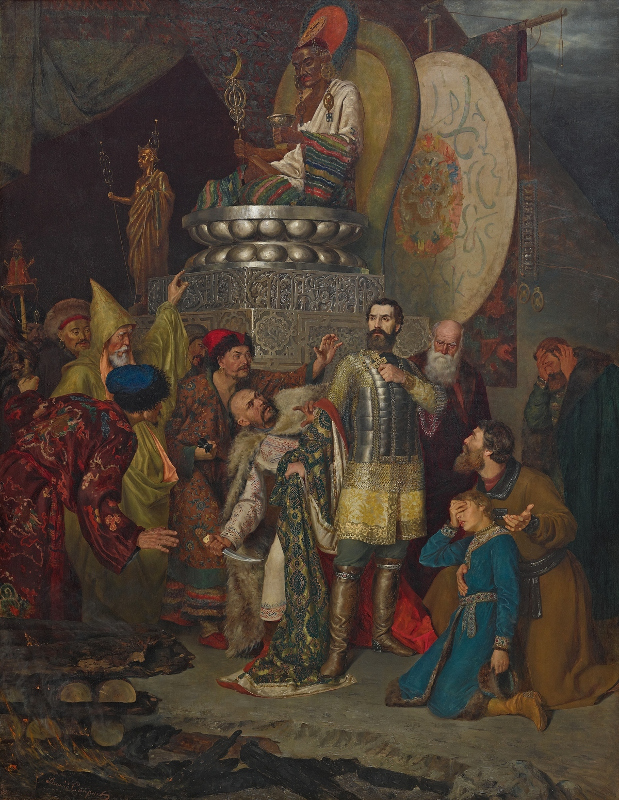 """В.С. Смирнов """"Князь Михаил Черниговский перед ставкой Батыя"""" 1883"""