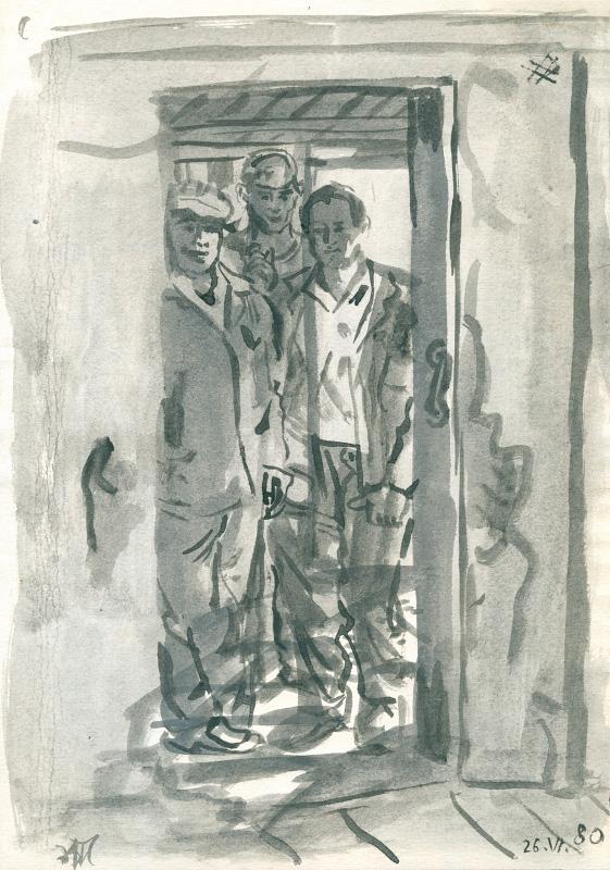 """Александр Максимов """"Трое в дверях"""" 1980"""