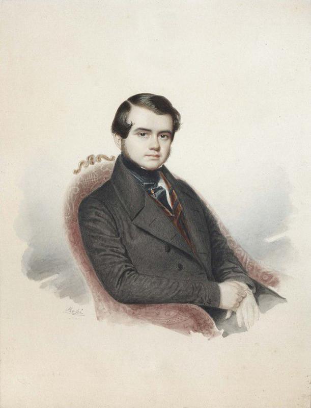 """Э. Росси """"Портрет графа В.А. Соллогуба"""" 1840-е"""