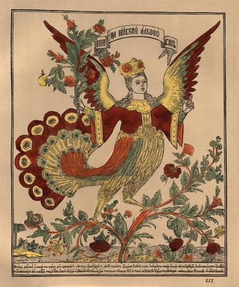 """Лубочная картинка """"Райская птица Алконост"""". Россия, 1881"""
