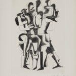 """Осип Цадкин """"Иллюстрация к изданию """"Гийом Аполлинер. Семь каллиграмм"""" 1967"""