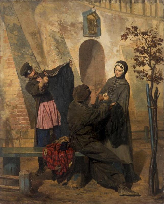 """Н.В. Неврев """"Наследство после чиновника (Вдова продает старое платье покойного мужа)"""" 1868"""