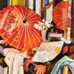 """Владимир Вейсберг """"Трельяж с красным зонтиком и веерами"""" 1956"""