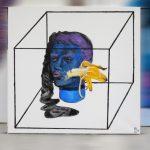 """Анна Проказова """"Женщина#4 или синяя женская голова в чулке с летящим в неё бананом"""" 2018"""