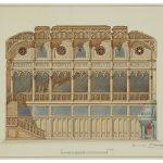 """С.А. Данини """"Проект Готического кабинета императора Николая II в Александровском дворце. Продольный разрез"""" 1896"""