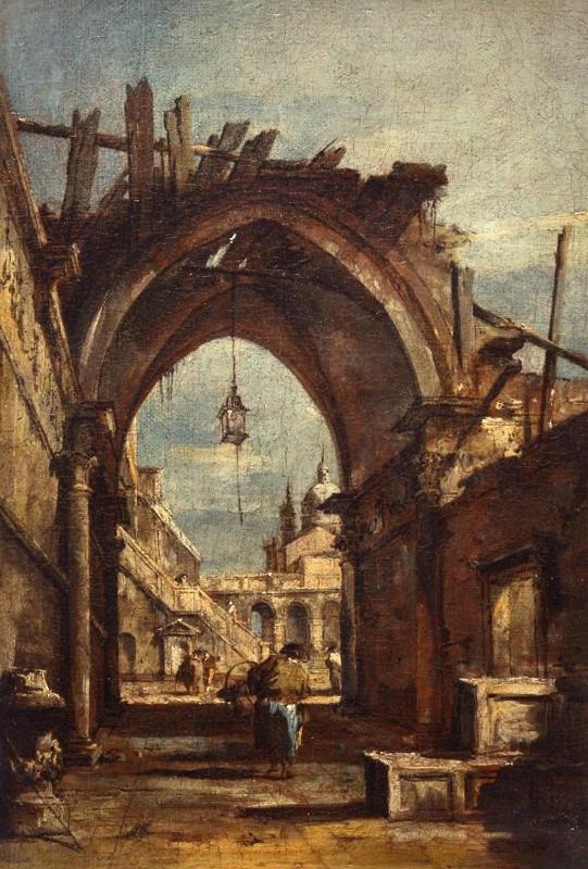 "Франческо Гварди ""Архитектурная фантазия с разрушенной готической аркой"" 1780-е"