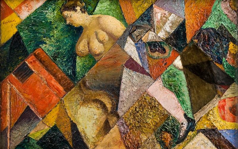 """Давид Бурлюк """"Женщина с зеркалом"""" 1915-1916"""