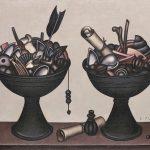"""Дмитрий Краснопевцев """"Две чаши с предметами"""" 1972"""