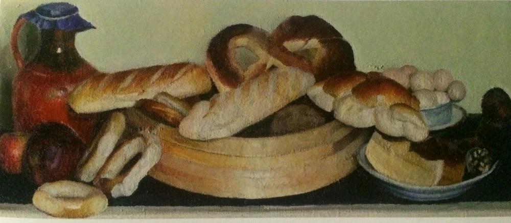 """Владимир Вейсберг """"Хлеба (Булки в решете, глиняный кувшин)"""" 1950"""