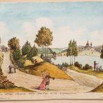 """Болотов А.Т., Болотов П.А. """"Вид главного съезда от дома вниз под гору в саду Богородицком"""" 1786-1787"""