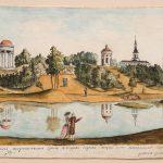 """Болотов П.А. """"Сцена вечерняя, представляющаяся зрению с вечерней сиделки в нижней части Богородицкого сада"""" 1786-1787"""