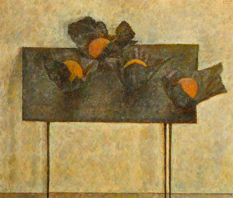 """Владимир Вейсберг """"Апельсины в чёрных бумажках на черном столе"""" 1961"""