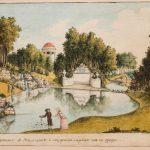 """Болотов П.А. """"Вид купальни с водопадом и полуденною сиделкою из-за прудка"""" 1786"""