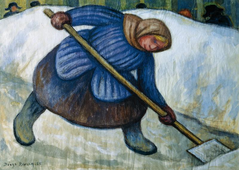 """Диего Ривера """"Женщина, убирающая снег"""" 1955"""