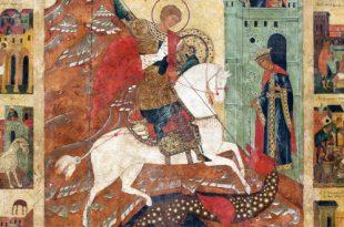 Чудо Георгия о змие. Житийная икона конца XVI века из частного собрания.